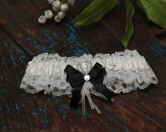 Brides Wedding Garter - With Hand Made Bow - Black Wedding Garter (All Colours Available)