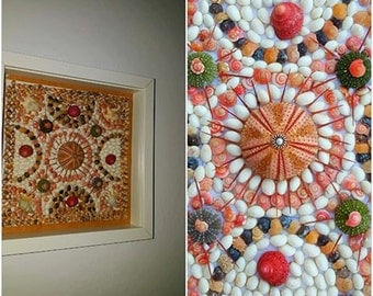 ART WALL-Tapestry-marquetry-mozaic  with shells /sea urchin/sea urchin spines.