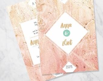 Marble wedding invitation SAMPLE