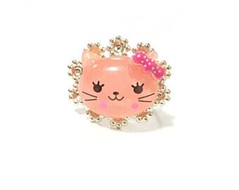 Pink kawaii kitty ring