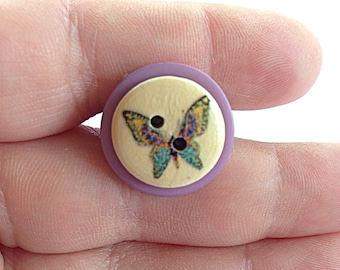 Purple butterfly button ring