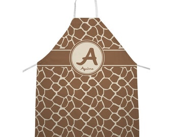 Giraffe Print Personalized Apron