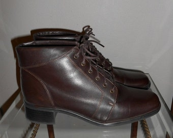 ON SALE Vintage 90's Brown Leather Folded Lace Up Boots Size 6.5 M