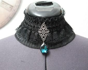 Lace Choker Gothic - petrol-blue, Choker, necklace, necklace, Choker, Gothic, steampunk, WGT