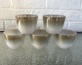 Federal Glass Moss Brown Mesa Pattern Custard Cups