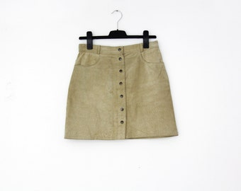 Vintage Skirt // Suede Leather Mini Skirt // size M