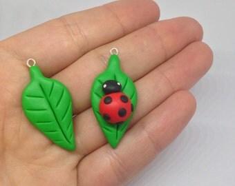 Kawaii Leaf and Ladybug on Leaf Charms