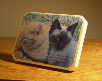 Handmade Wood Plaque, Purr-fect Gift for Friend, Cat