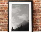 Snoqualmie Pass Mountains, Mountain Pass, Snow Scene, Black and White, Photography, Pacific Northwest, Ski, Landscape, // Frame NOT INCLUDED