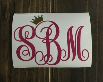 Personalized Monogrammed Decal with Crown | Monogram Yeti Decal | Monogram RTIC Decal | Monogram Car Decal | Customized Monogram Decal