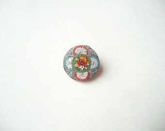 Vintage micromosaic brooch, micro mosaic brooch, Italian mosaic pin, glass tile pin, floral mosaic, round flower pin, made in Italy