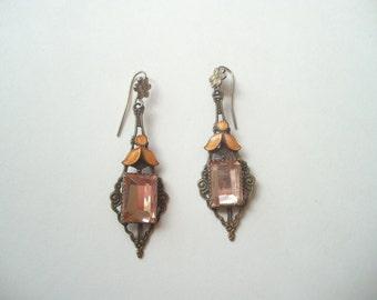 Vintage Art Deco earrings, Art Deco Czech glass, Art Deco enamel, Art Deco glass, antique bronze, long drop earrings, peach glass drops