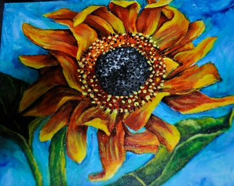 "Original Signed Painting Red Sunflower Acrylic 10"" X 14"""
