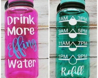 Drink more Effing Water - 34 OZ. Jug, Water tracker, New mom gift, baby shower gift, breastfeeding water bottle, drink your effing water