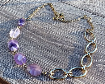 Lavender Links- Amethyst Nugget Chain Link Asymmetrical Statement Necklace