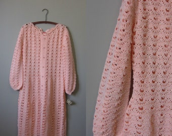 1970s pink crochet dress | 70's Boho Hippie | M to L | Mabel