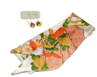 Scarf and Earrings Set Handmade With Vintage Japanese Silk Kimono - Headband and Earrings Set
