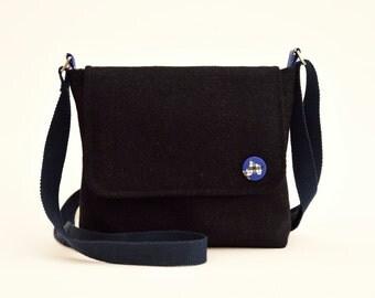 Harris Tweed Messenger Bag - Navy Blue with Scottie dog Lining