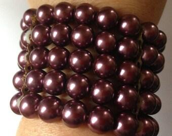 Bracelet  - plum pearl bead bracelet