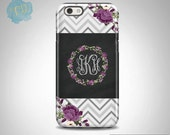 iPhone SE case, Personalized iPhone case, iPhone 6 case Samsung S6 Case S5 case S7 case Gray Chevron Purple Flowers, Chalkboard Design (2)