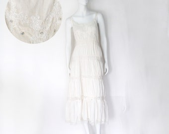 The Quiet White Whitework Vintage Cotton Voile Crochet Lace, Ruffled Tier Slip Dress, Women's Nightgown