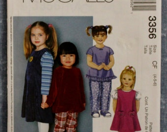 2001 Children's Jumper, Top And Pull-On Pants Size CF (4-5-6) McCall's 3356 Sewing Pattern Pat151