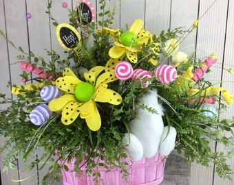 Easter Centerpiece, Easter floral arrangement, Easter Table Arrangement, Bunny butt, Easter decor for Table,Spring Centerpiece,bunny Booty