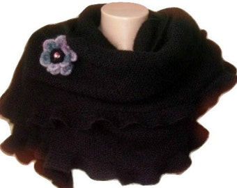 Black Shawl, Mohair, Custom Knit Ruffled, Woman Ruffle Scarf, Hand Knit, Cute Frilled, Warm, Crochet Flower, Bridal Wrap, Bridesmaid