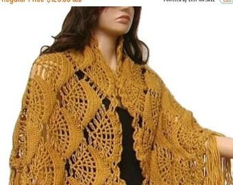 ON SALE Crochet Shawl, Long Fringe, Golden Color, Bridal Wrap, Accessory, Express Cargo