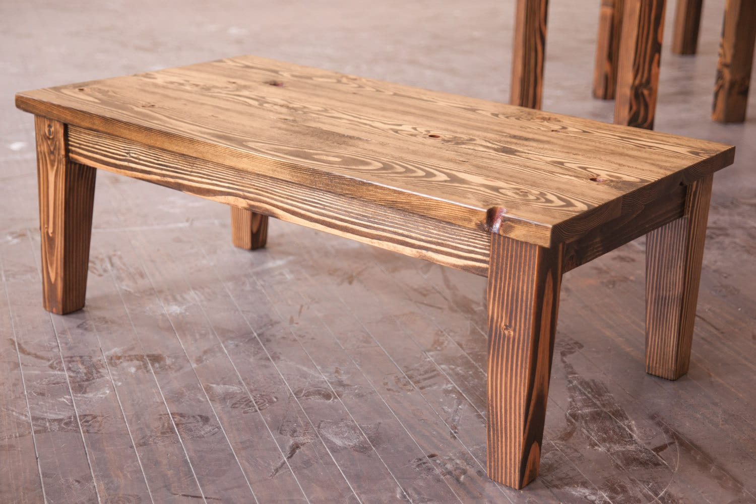Solid wood farmhouse coffee table rustic coffee table for Solid wood farmhouse table