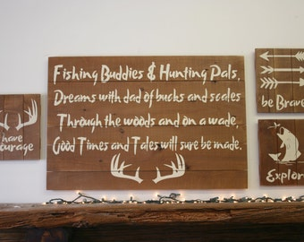Fishing Buddies And Hunting Pals Pallet Sign Fathers Day Gift Rustic Wood Sign Rustic Boys Nursery Wall Decor Handpainted Hunting Nursery