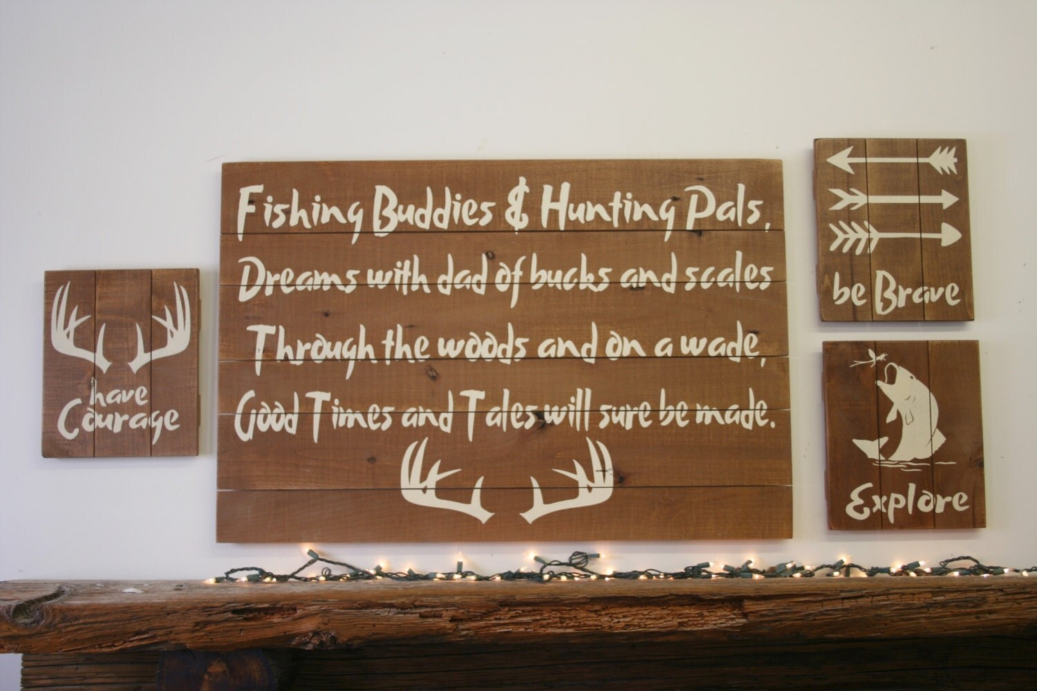 Fishing buddies and hunting pals pallet sign fathers day gift for Fishing bedroom decor
