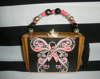 Pink Ribbon, Breast Cancer Awareness, Butterfly, Cigar Box Purse, Cigar Box Handbag, Tampa