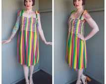 ADORABLE Rainbow Brite 1970's Striped Elastic Smocked Cotton Terrycloth Day Sun Dress - size Medium Large