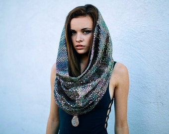 Rainbow Disco Cowl Festival Hood With Hidden Built-In Pocket