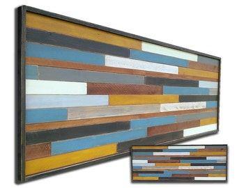 Reclaimed Wood Artwork Wall Sculpture Rustic Modern Decorative Textured Abstract Transitional Large Tall Narrow Custom Designs OOAK Gifts
