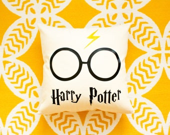 Harry Potter Pillow Cover w/ Lightning Bolt and Glasses
