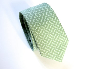 Mens ties/Sage green mens neck tie,sage wedding neck tie,grooms necktie sage green,sage and white checks necktie for weddings