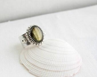 Labradorite Wrap Ring, Silver Wide Band Ring, Adjustable Ring, Gemstone Statement Ring