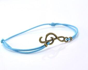 Bracelet music bronze blue cord
