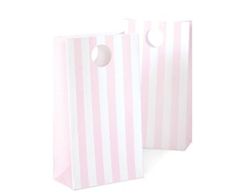 Marshmallow Pink Striped Favor Bags (12 Count)