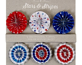 SALE!! -- Stars + Stripes Pinwheel Toppers (Set of 6) - Red White and Blue, Fourth 4th of July Party Picks