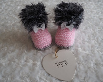 hand knitted baby booties/knitted Ugg booties/baby slippers/baby shoes/shower gift/baby boots/christening shoes/knitted baby boots/booties.
