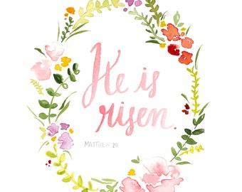 "Dowloadable option! Easter Flower Wreath Print, ""He is Risen"""