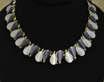 Vintage Two Tone Blues Thermoset Moonglow 1950's Necklace Silver Tone Metal