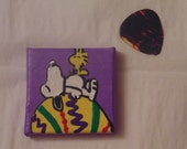 Handmade Snoopy and Woodstock Easter Magnet, Easter Egg, Purple, Yellow, Green, Red, White, Black, 2x2