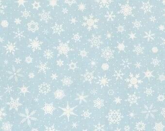 White Christmas Village Retro Light Blue with Snowflakes Patrick Lose Christmas Fabric BTY
