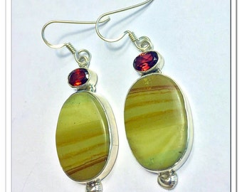 Jasper Garnet Dangle Earrings