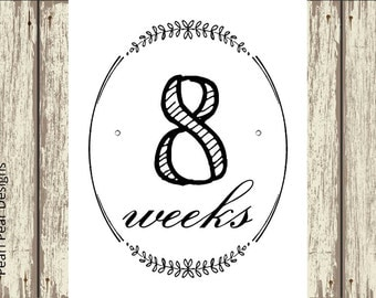EACH Week Pregnancy Chalkboard  Countdown Weeks (ALL weeks 6-40) 34 digital files - pregnancy week by week 16x20