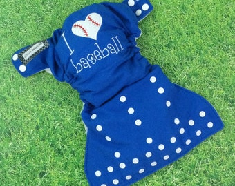 Embroidered cloth diaper / Little Beasties / snaps / one size pocket / adjustable elastic & leg gussets / blue / I <3 baseball embroidery